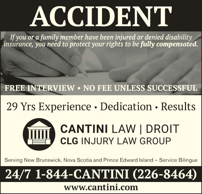 Cantini Law Group (506-867-2529) - Display Ad - Serving New Brunswick, Nova Scotia and Prince Edward Island ? Service Bilingue