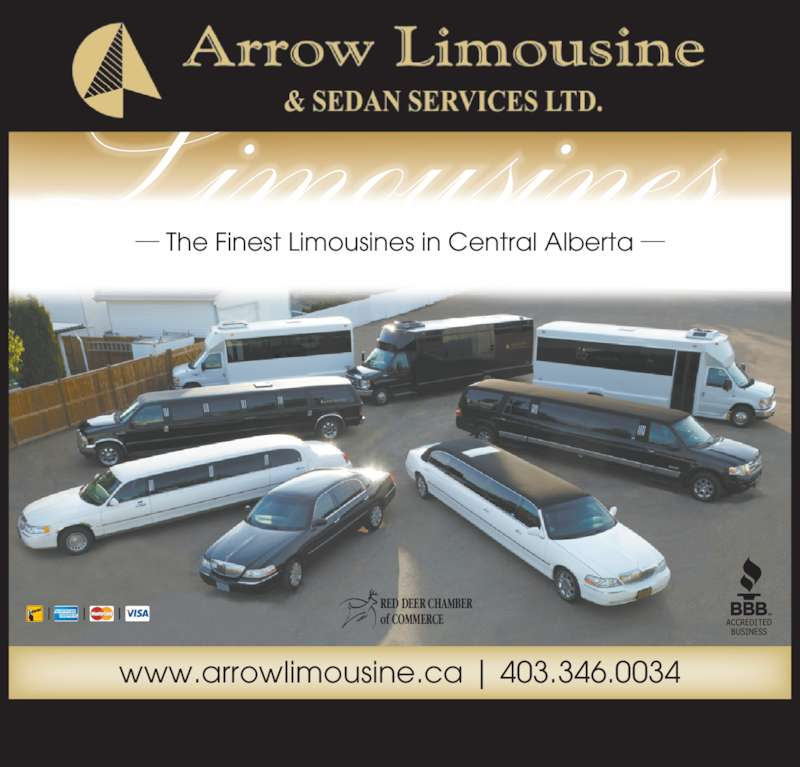 Arrow Limousine & Sedan Services Ltd (403-346-0034) - Display Ad - The Finest Limousines in Central Alberta RED DEER CHAMBER  of COMMERCE www.arrowlimousine.ca | 403.346.0034