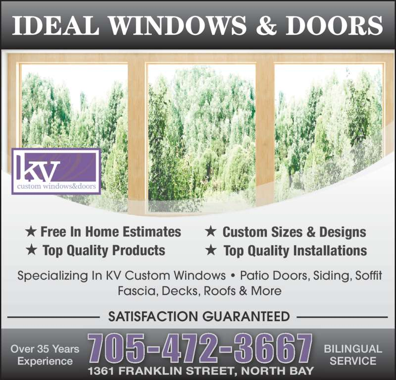 Ideal windows doors north bay on 1361 franklin st for Ideal windows and doors