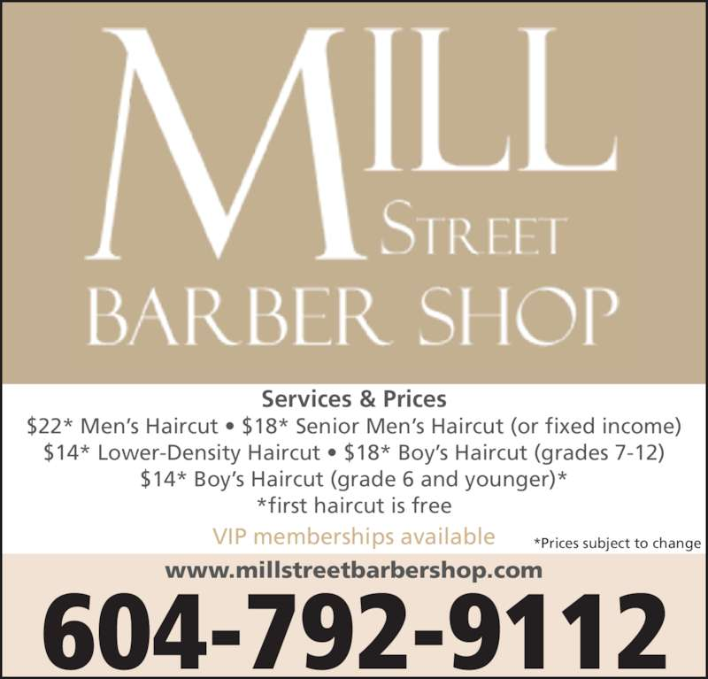 Mill Street Barber Shop - Opening Hours - 9341 Mill St, Chilliwack, BC