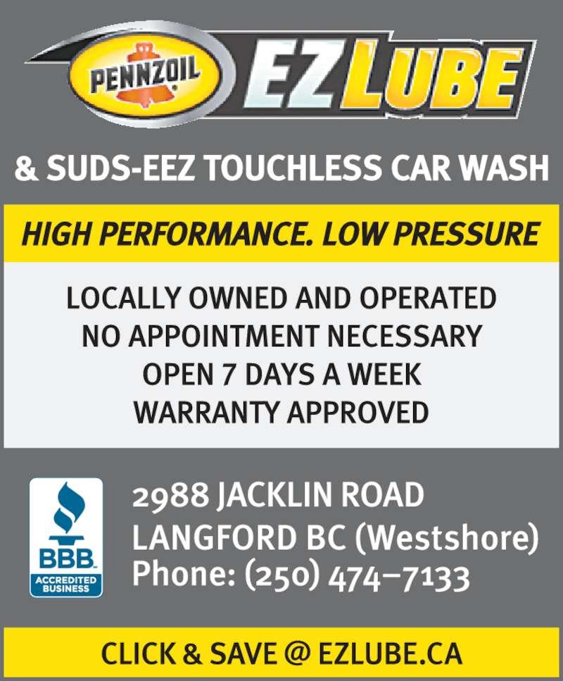 Pennzoil EZ Lube & Car Wash (250-474-7133) - Display Ad -
