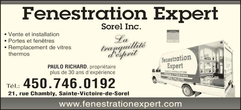Fenestration expert sorel inc ste victoire qc 21 rue for Porte fenetre futura laval