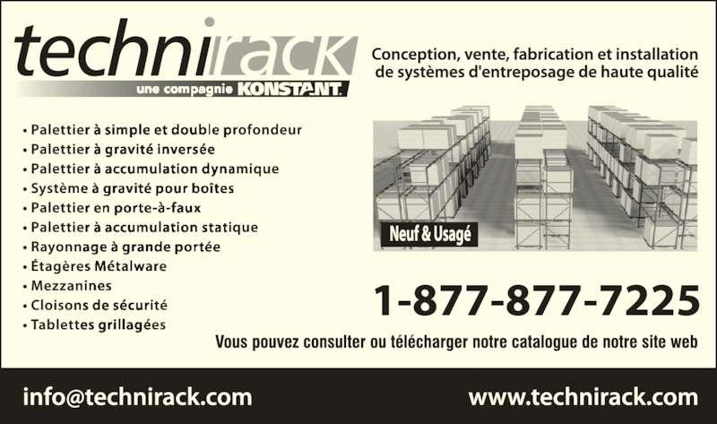 Technirack-A Konstant Company (514-871-3811) - Annonce illustrée======= -