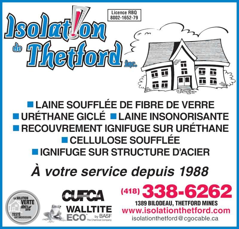 isolation de thetford inc horaire d 39 ouverture 1389 rue bilodeau thetford mines qc. Black Bedroom Furniture Sets. Home Design Ideas