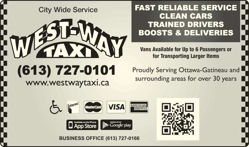 West Way Taxi (613-727-0101) - Display Ad - City Wide Service Vans Available for Up to 6 Passengers or for Transporting Larger Items
