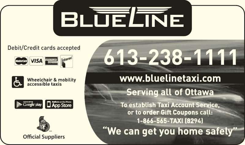 Blue Line Taxi Co Ltd (613-238-1111) - Display Ad - TM/MC