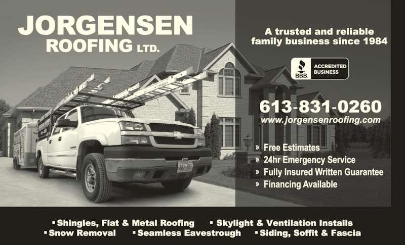 Jorgensen Roofing (613-831-0260) - Display Ad -