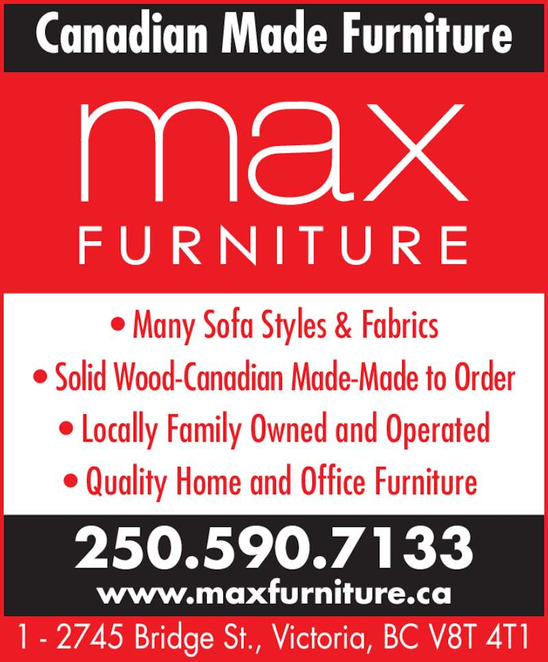 Max furniture opening hours 1 2745 bridge st victoria bc for Furniture victoria bc