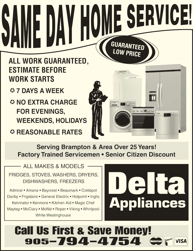 Delta Appliance Services Opening Hours 65 Sorbonne Dr