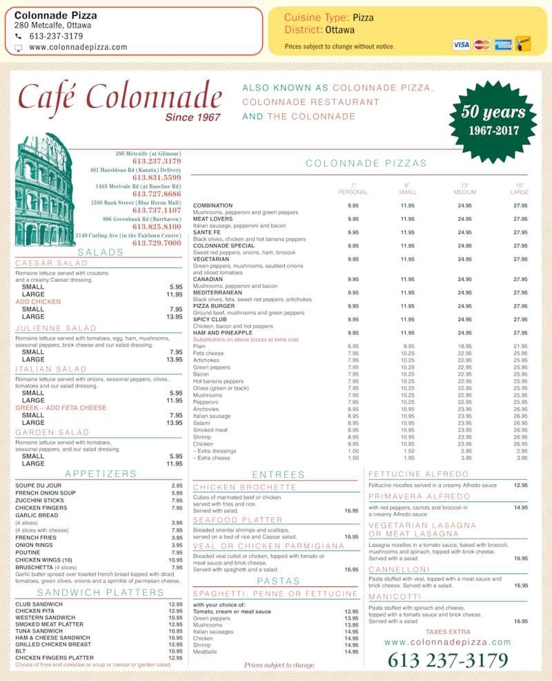 Continental Restaurant Mississauga Menu