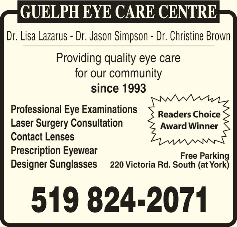 Guelph Eye Care (519-824-2071) - Display Ad -
