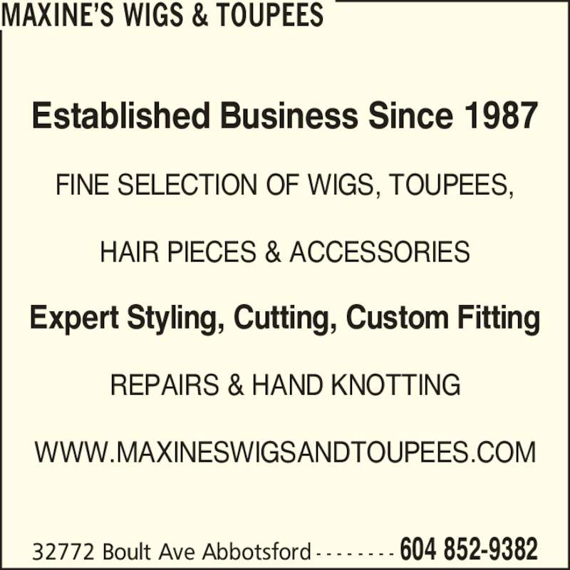 Maxine's Wigs & Toupees - Abbotsford, BC - 32772 Boult Ave | Canpages
