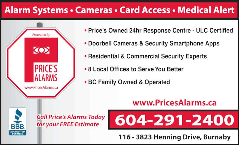 Price S Alarms Burnaby Bc 116 3823 Henning Dr Canpages