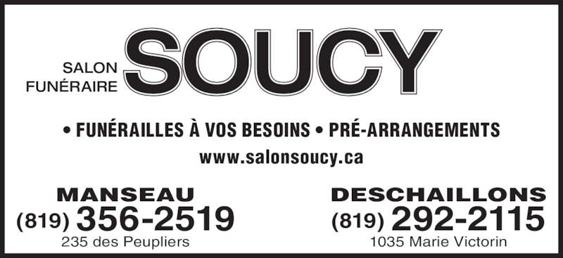 Salon fun raire soucy fils manseau qc 235 rue des - Salon funeraire soucy ...