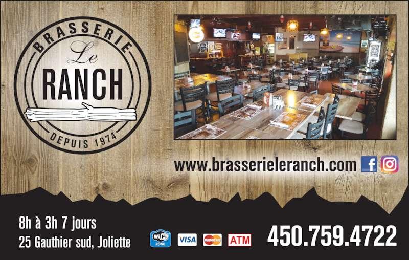 Bar Le Ranch (450-759-4722) - Annonce illustrée======= - www.brasserieleranch.com 450.875.1064759 472225 Gauthier sud, Joliette 8h ? 3h 7 jours