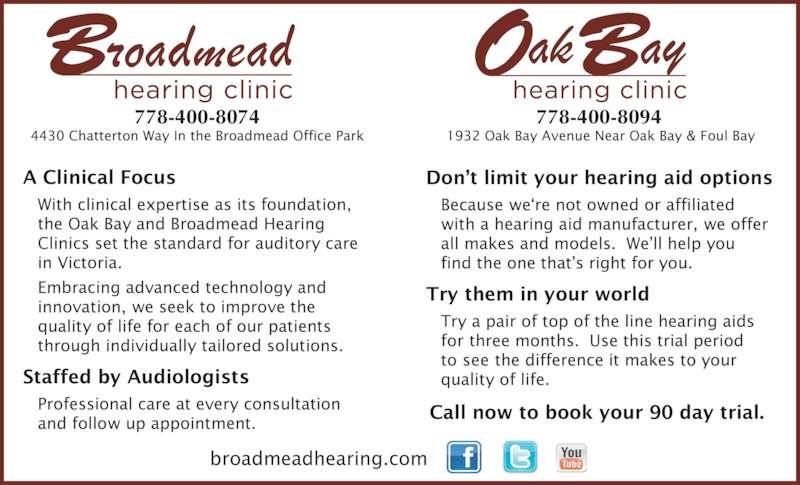 Broadmead Hearing Clinic (250-479-2969) - Display Ad - 778-400-8074 778-400-8094
