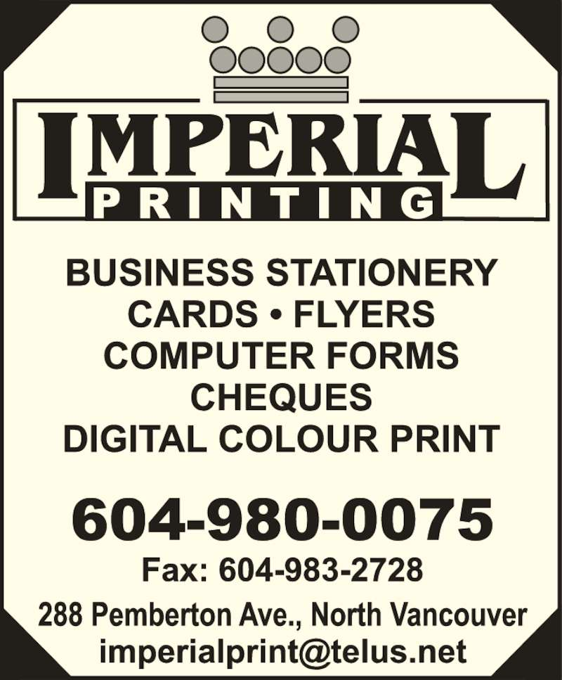 Imperial printing inc 288 pemberton ave north vancouver bc for Imperial printing