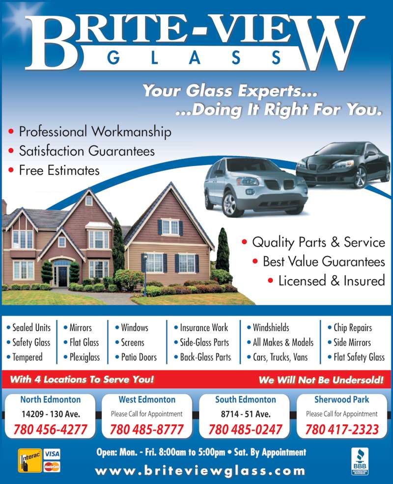 Brite view glass inc edmonton ab 14209 130 ave nw canpages