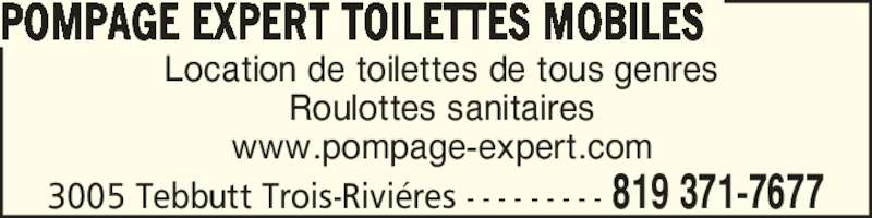 Toilettes mobiles trois rivi res 3005 rue tebbutt for Kijiji trois rivieres meuble a donner