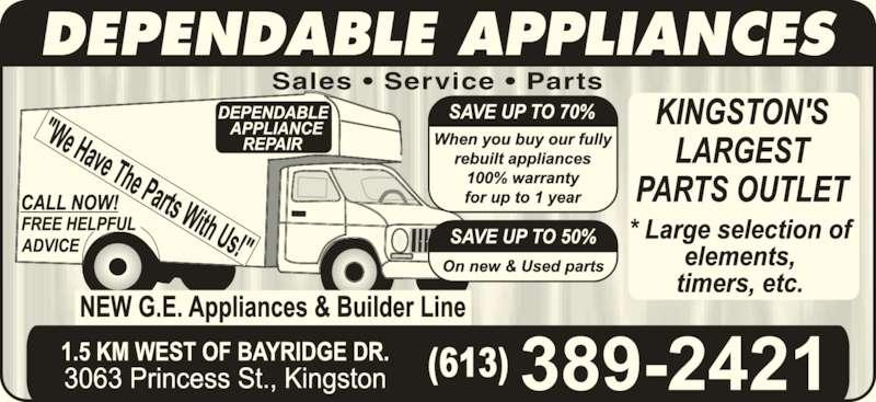 Dependable Appliances (613-389-2421) - Display Ad - DEPENDABLE APPLIANCES Sales ? Service ? Parts