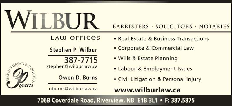 Wilbur Law Offices (506-387-7715) - Display Ad - Owen D. Burns