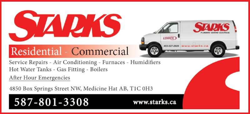Starks Plumbing Heating & Electrical (403-527-2929) - Display Ad - 587-801-3308