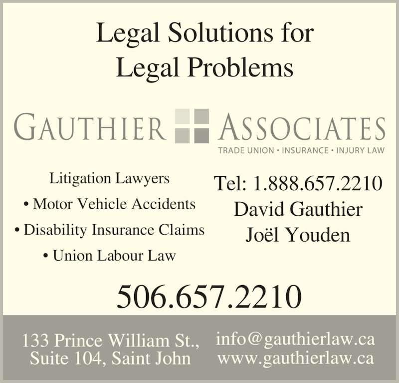 David G Gauthier (5066572210) - Display Ad - www.gauthierlaw.ca 133 Prince William St., Suite 104, Saint John