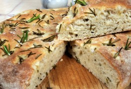 Recipe for savoury focaccia bread with fresh rosemary