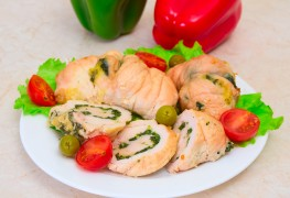 Pesto chicken spirals with peppers and watercress