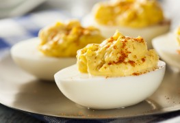 Blood-pressure friendly version of devilled eggs