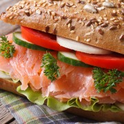 Pack salmon sandwiches with wasabi mayonnaise