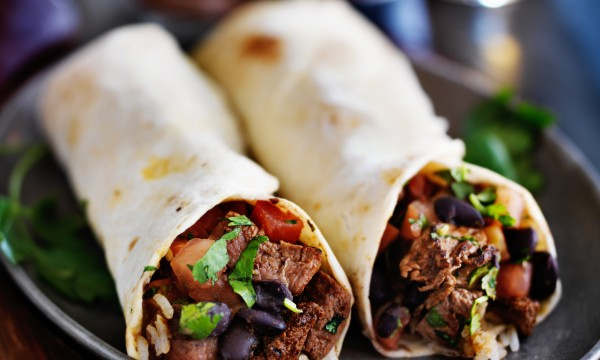 Mexican-style beef and black bean burritos