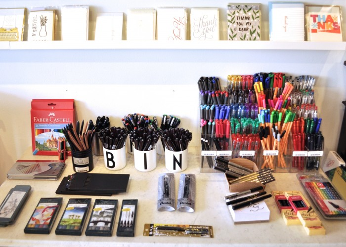 Take Note - Modern shelves running the length of the store are adorned with Jolanta's picks: notebooks, pens, pencils, cards and accessories
