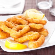 Dinner tonight: golden cookie-crusted calamari with garlic-lemon mayonnaise