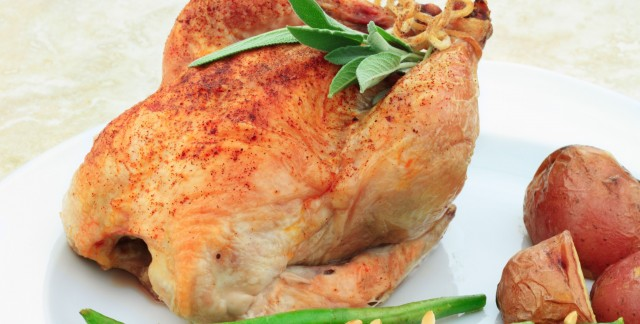 Dinner tonight: cornish hen with ham and wild rice stuffing