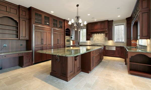 Painted Cabinets In Wooden Kitchen