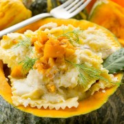 Dinner tonight: pumpkin-nut ravioli with sage brown butter