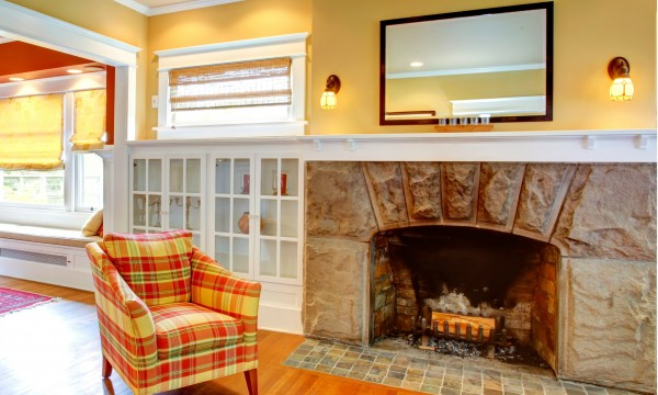 And fireside surrounds stone mantels