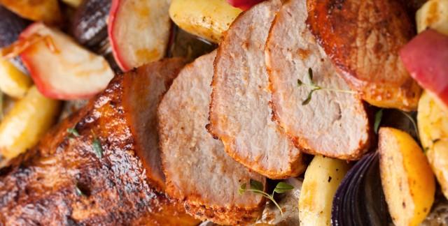 Filet de porc glacé aux pommes