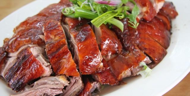 Souperdu soir : canard rôti avec couscous et vin rouge