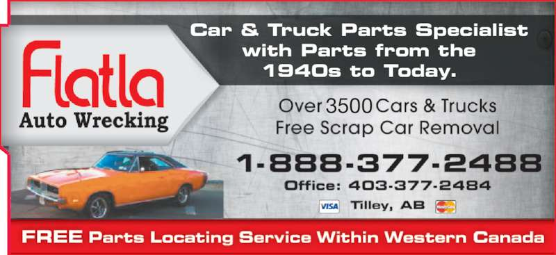 Brooks Auto Parts >> Flatla Auto Wrecking - Tilley, AB - 164078 Range Road 134 | Canpages