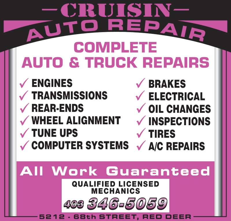 Cruisin Auto Repair Red Deer Ab 5212 68 St Canpages