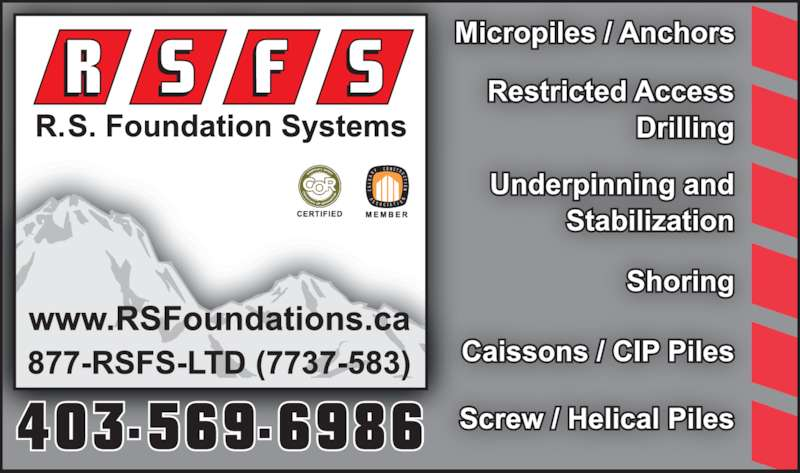 R S Foundation Systems Ltd (403-569-6986) - Display Ad -
