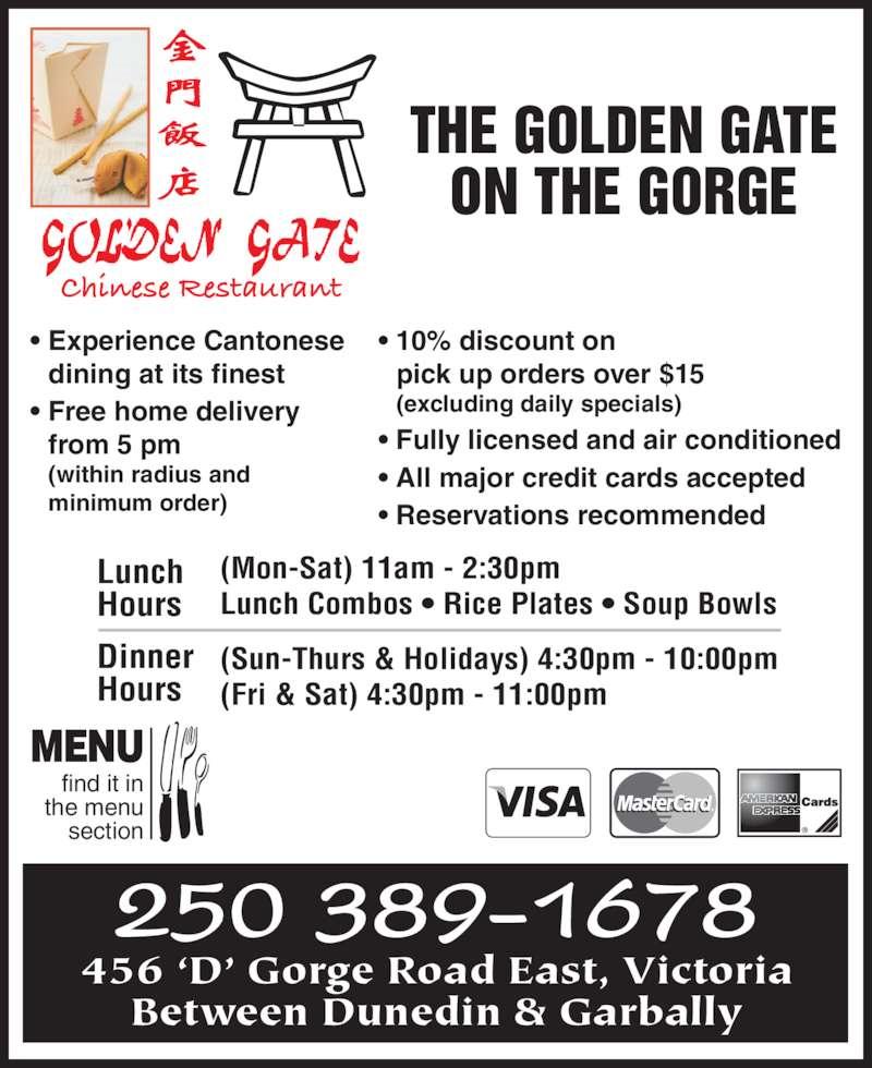 Golden Gate Chinese Restaurant Menu Victoria Bc