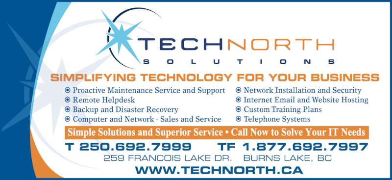 Tech North Solutions Inc (250-692-7999) - Display Ad -