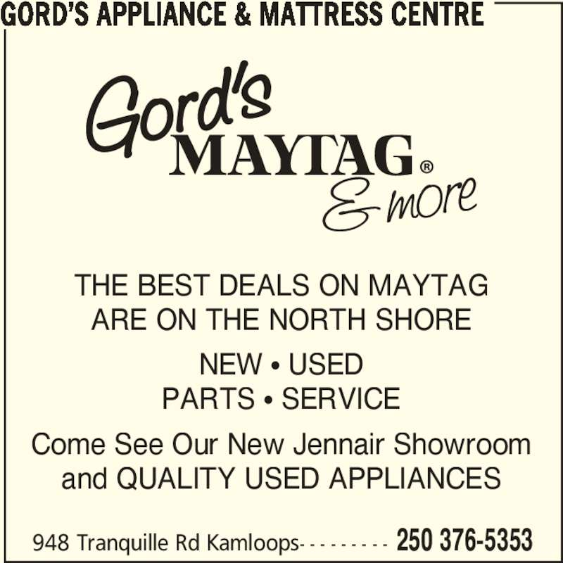 Gord S Maytag Kamloops Bc 948 Tranquille Rd Canpages