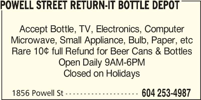 Ads Powell Street Return-It Bottle Depot