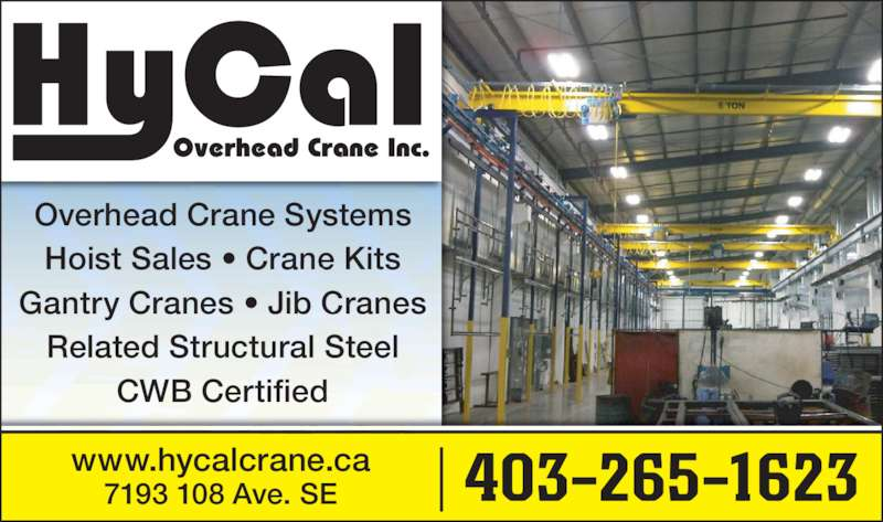 Overhead Cranes Vancouver Bc : Hycal overhead cranes inc calgary ab ave se canpages