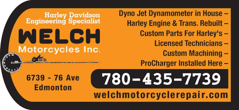 Welch motorcycles inc edmonton ab 6739 76 avenue nw for Harley davidson motor company group inc