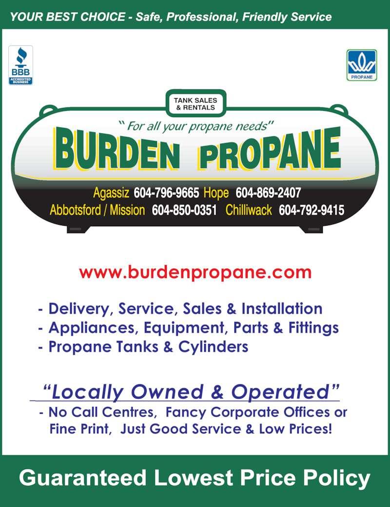 Burden Propane Delivery Agassiz Bc 1764 Industrial